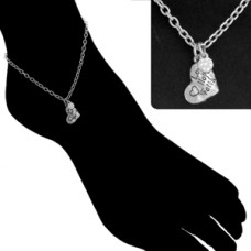 Heart Charm Chain Anklet - Silver