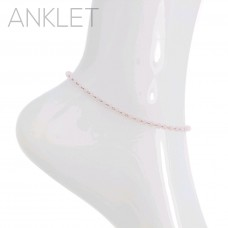 Light Pink Drop Dangle Seed Bead Anklet
