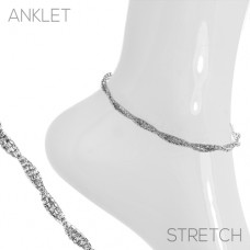 Rhinestone Twisted Anklet - Silver