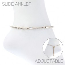 Gold And Rhinestone Adjustable Slide Anklet
