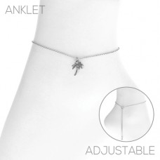 Silver Chain With Palm Tree Charm Adjustable Slide Anklet