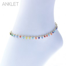Gold Chain With Multi-Colored Seed Beads Drop Dangle Clasp Anklet