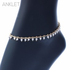 Pearl Seed Bead Dangle Gold Chain Anklet