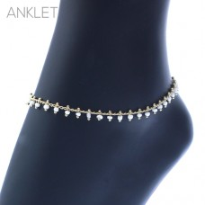 Gold Chain With White Seed Bead Drop Dangle Clasp Anklet
