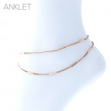Double Strand Link Chain Anklet - Rose Gold