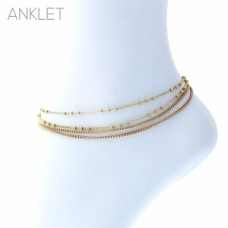 Four Strand Anklet in Gold