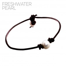 Freshwater Pearl on Brown Cord Bracelet