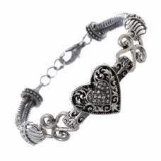 Antique Silver Filigree Heart Bracelet with Rhinestone Center