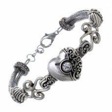 Antique Silver Filigree Heart Bracelet