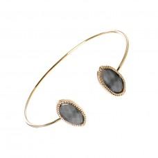 Gold Cuff With Dark Gray Stone Accents