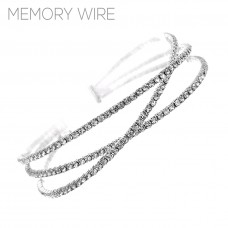 Crystal Crossover Memory Wire Bracelet - Silver