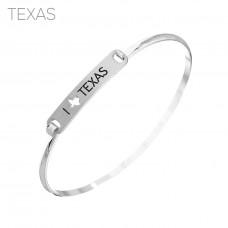 """I Love Texas"" Engraved Bar Bracelet - Silver"