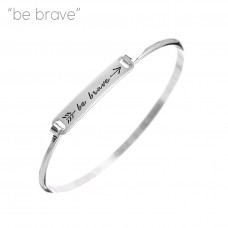 """""""Be Brave"""" Engraved Bar Bracelet - Silver"""