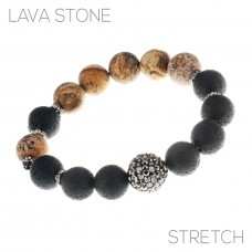 12mm Lava Stone Stretch Bracelet With Rhinestone Accent Bead