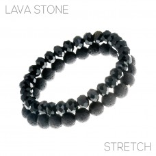 2 pc Lava Stone And Crystal Stretch Bracelet - Black