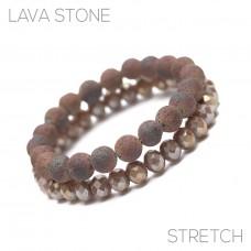 2 pc Lava Stone And Crystal Stretch Bracelet - Copper
