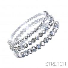 3 pc Crystal Stretch Bracelet - Aluminum