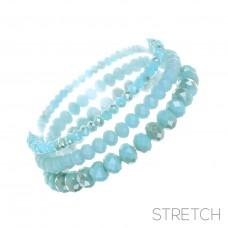 3 pc Crystal Stretch Bracelet - Cool Blue Opalescent