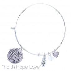 Faith, Hope and Love Bangle Bracelet - Silver