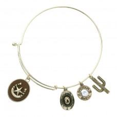 Horseshoe and Star Charm Bangle Bracelet - Gold
