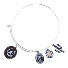 Horseshoe and Star Charm Bangle Bracelet - Silver