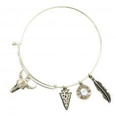 Steer Skull Multi Charm Bracelet - Gold