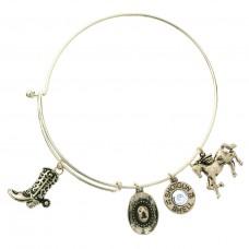 Cowboy Theme Multi Charm Bracelet - Gold