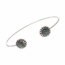 Burnished Silver Flower Button Open Cuff Bracelet