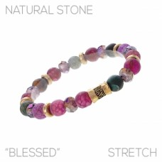 """""""Blessed"""" Shades of Purple with Gold Accents Beaded Stretch Bracelet"""