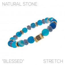 """Blessed"" Shades of Blue with Gold Accents Beaded Stretch Bracelet"
