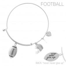 Football Theme Multi Charm Bracelet - Silver