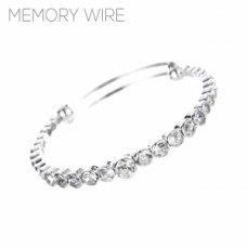 Memory Wire Rhinestone Adjustable Bangle Bracelet - Silver
