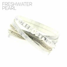 Fresh Water Pearl Glass Bead Wrap Bracelet - White