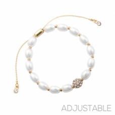 Adjustable Pearl Slide Bracelet - Gold
