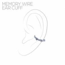 Three Stone Memory Wire Ear Cuff - Silver