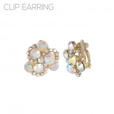 Iridescent Cluster Stone Clip Earrings - Gold