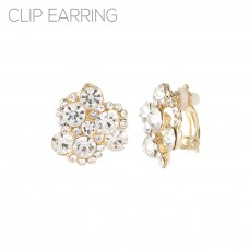 Clear Cluster Stone Clip Earrings - Gold