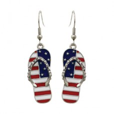Flag Flip Flop Wire Dangle Earrings - Silver