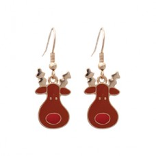 Reindeer Enamel Dangle Earrings - Gold