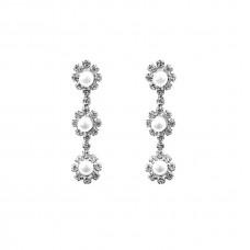Pearl Three Flower Earrings