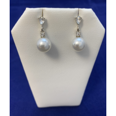 Silver White 9 mm Simulated Pearl With Clear Crystal Post Earrings