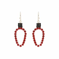 Christmas Light Rhinestone Dangle Earring - Red