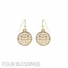 """Four Blessings"" Dangle Gold Earrings"
