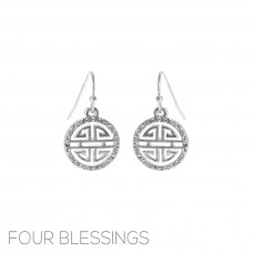 """Four Blessings"" Dangle Silver Earrings"