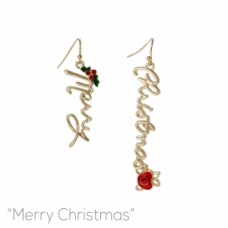 Merry Christmas Script Wire Earring - Gold