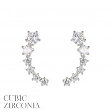 CZ Graduated Curved Earrings - Silver