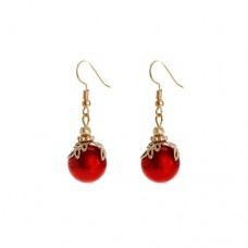 Ornament Dangle Earrings - Red