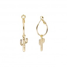 Cactus Dangle Earrings - Gold