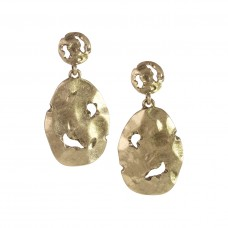 Deconstructed Oval Dangle Post Earrings - Gold
