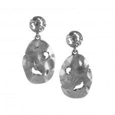 Deconstructed Oval Dangle Post Earrings - Silver